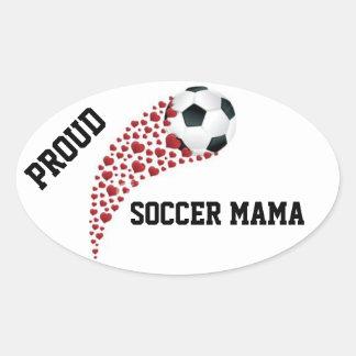 Mama orgulhoso Decalque do futebol Adesivo Oval