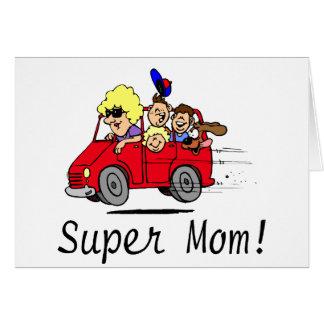 Mamã super (Van/miúdos) Cartão Comemorativo