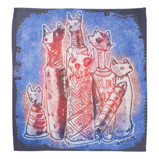 mamãs do gato azuis bandanas