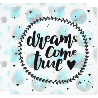 Manchas azuis da aguarela. Os sonhos vêm Convite Quadrado 13.35 X 13.35cm