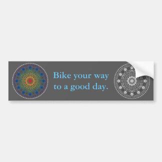 Mandala 2 da bicicleta com frase do bom dia adesivos