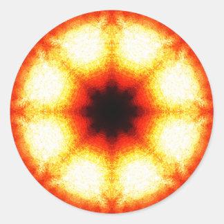 Mandala alaranjada brilhante da fatia adesivo redondo