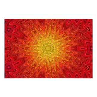 Mandala alaranjada e amarela de Sun/estrela/coraçã Impressão De Foto
