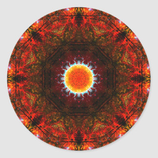 Mandala ardente vibrante do núcleo adesivo redondo