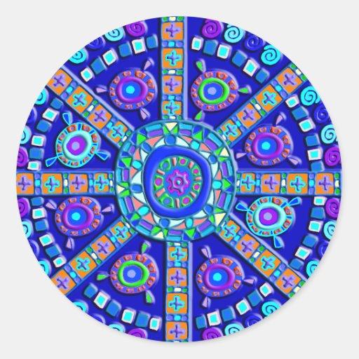 Como Fazer Artesanato Reciclagem De Garrafa Pet ~ Mandala azul decorada adesivo Zazzle