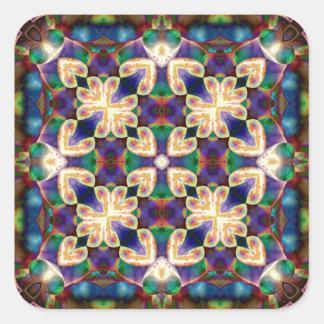 Mandala celta do vitral do coração do arco-íris adesivo quadrado