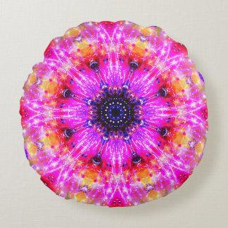 Mandala cor-de-rosa da flor almofada redonda