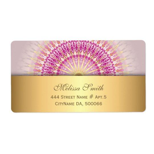 Mandala cor-de-rosa do ouro etiqueta de frete
