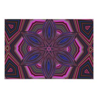 Mandala cor-de-rosa e azul do caleidoscópio da flo impressão de foto