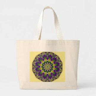 Mandala da flor, amarelo dos Pansies, violett Sacola Tote Jumbo