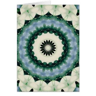 Mandala da flor branca e do azul Cerulean Cartão