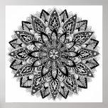Mandala da flor preto e branco poster