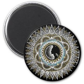 Mandala da mulher da prata e do ouro ímã redondo 5.08cm