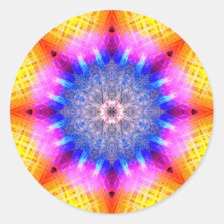 Mandala de pulsação colorida da estrela adesivo redondo