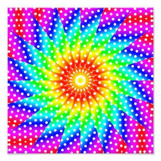 Mandala do caleidoscópio das bolinhas do arco-íris impressão de foto