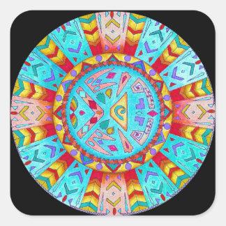 Mandala do sudoeste do nativo americano da adesivo quadrado
