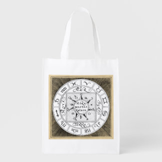 Mandala dos símbolos do zodíaco e do planeta sacola ecológica