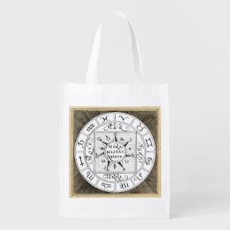 Mandala dos símbolos do zodíaco e do planeta sacola ecológica para supermercado