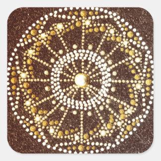 Mandala dourada, etiqueta de Chakra do ouro