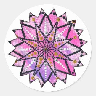 Mandala floral cor-de-rosa de Starburst - etiqueta