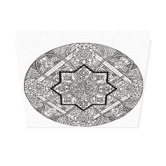 Mandala ilustrada mão em canvas