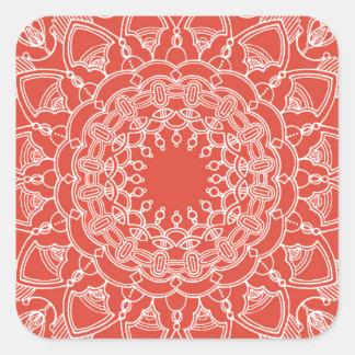 Mandala na etiqueta vermelha