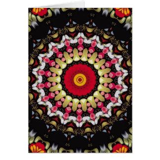 Mandala preta e vermelha mágica cartão