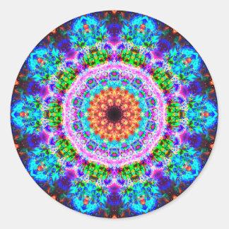 Mandala realmente colorida adesivo redondo