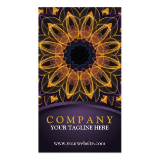 Mandala roxa amarela de Lotus Cartão De Visita