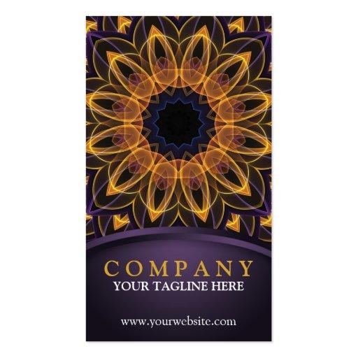 Mandala roxa amarela de Lotus Modelo Cartões De Visitas