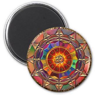 Mandala simbólica de Sun do ouro Ímã Redondo 5.08cm