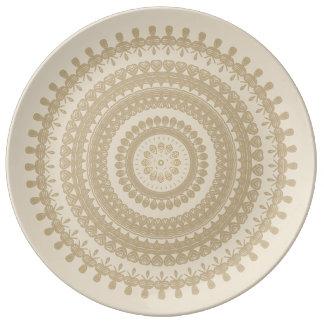 Mandala tribal Tan Brown de terra do círculo da Pratos De Porcelana