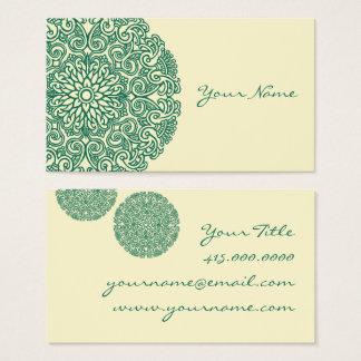 Mandala verde cartão de visitas