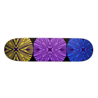 Mandalas de harmonização em três cores elogiosas shape de skate 20,6cm