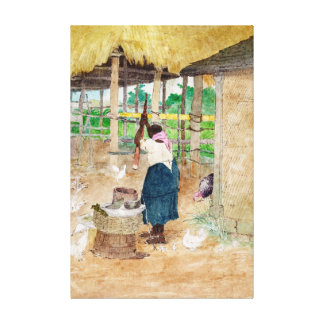 Mandioca batendo da mulher em Jamaica Berryman 180 Impressão De Canvas Esticadas
