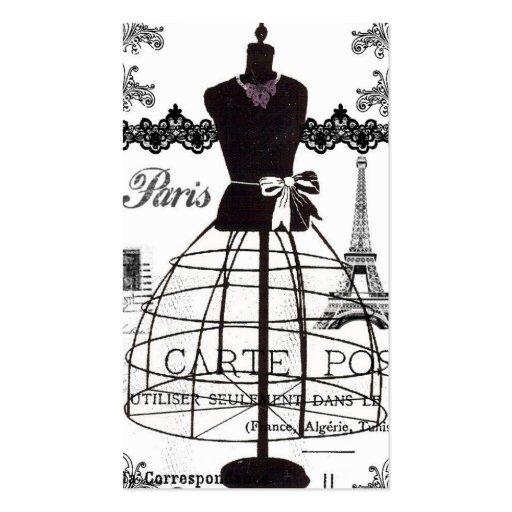 Manequim branco preto da forma de Paris Modelo De Cartões De Visita