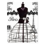 Manequim branco preto da forma de Paris Cartoes Postais