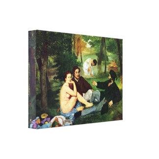 Manet - cópia do almoço na grama 1863 impressão de canvas esticada
