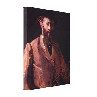 Manet - cópia do retrato de auto com Pallette Impressão Em Canvas