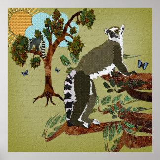Manhã da azeitona dos Lemurs Posteres