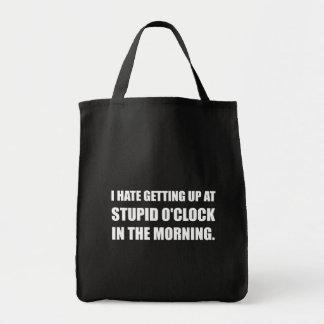 Manhã estúpida da hora bolsa tote