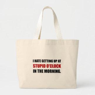 Manhã estúpida da hora bolsa tote grande