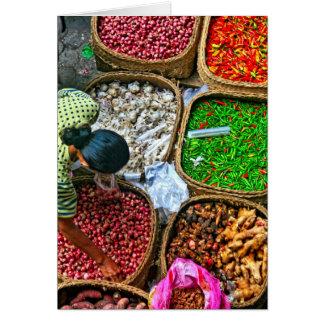 Manhã no mercado de Ubud Cartão De Nota