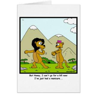 Manicure: Desenhos animados do leão e da leoa Cartão Comemorativo