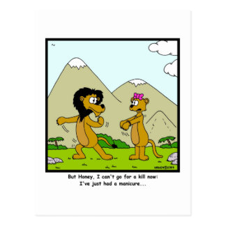 Manicure: Desenhos animados do leão e da leoa Cartão Postal
