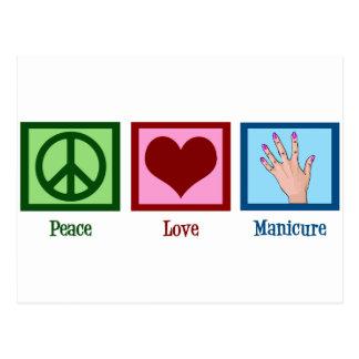 Manicure do amor da paz cartão postal