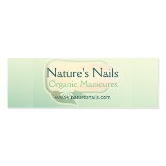 Manicure orgânico das unhas da natureza cartão de visita skinny