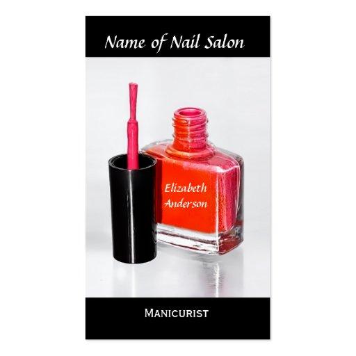 Manicuro cor-de-rosa do verniz para as unhas no sa modelos cartoes de visita