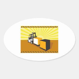 Manipulação de materiais do caminhão de adesivos em formato oval
