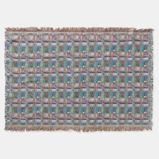 Manta Afegão colorido azul verde dos retalhos do mosaico